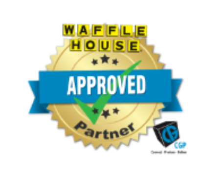 "It's a classic 2000s style webbadge that says ""Waffle House Approved Partner"""